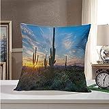 Pillow Cases Saguaro,Sun is Setting Between Cactus Plants with Spines Magical Noon Landscape Wild Design,Green Blue 18'x18',Hidden Zipper