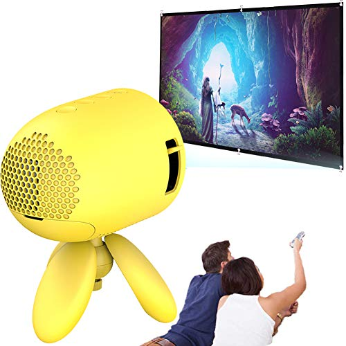 Mini Projector, Pocket Video Projectors with Projector Screen 1080p Hd Home Theater Video Cinema Compatible with Hdmi/USB/Sd/Av/Smart Phone Laptop Tablet Tv, Yellow
