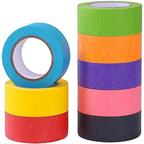 NETUME Klebeband Bunt Basteln Kinder, 8 Rollen Farbe Malerkrepp Washi Tape Masking Tape für Dekorieren Geschenke, Farbcodieren Kartons, Beschreibbare Regenbogen Farbig Deko Klebeband Klebestreifen