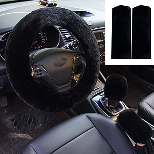 ZYNQACC 5pcs in 1 Set Faux Wool Steering Wheel Cover Soft Fluffy Handbrake...