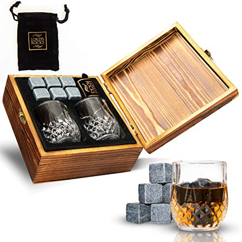 Whiskey Stones Gift Set - Cold Stones For Drinks – 6 Natural...