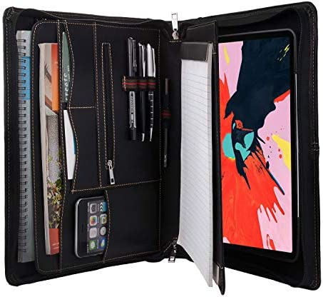 iCarryAlls Zipper Leather Portfolio with Removable Tablet Holder Padfolio Tablet Case with Stand product image
