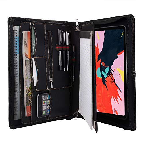 Zipper Leather Portfolio with Removable Tablet Holder, Padfolio Tablet Case with Stand Compatible for iPad Pro 12.9 2020 & 2018