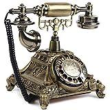 Royal Vintage Telephone Antique Desk Phone Corded Retro Phone Rotary Antique Dial Handset Corded Desk Home Office Vintage Decorative Telephone (Gold)