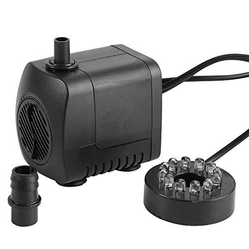 Bomba de Agua Sumergible Pump Acuario Pecera15W LED Ligero Fuente de Agua en 220 240V 7 *5.1cm Aquarium Pecera