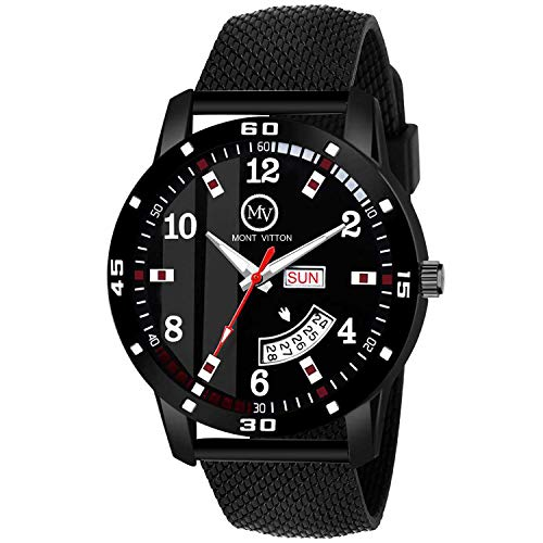 MontVitton Day and Date Functioning Black Quartz Stylish Watches for Men