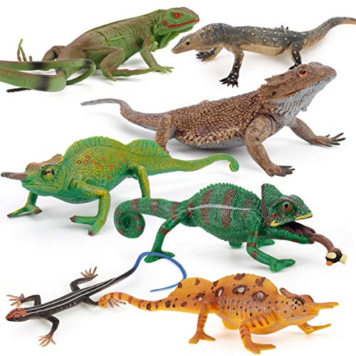 Fantarea Realistic 7 PCS Wild Life Jungle Animal Action Figures Model Desktop Decoration Chameleon Lizard Party Favors Supplies Cake Toppers Set Toys for 5 6 7 8 Years Old Boys Girls Kid Toddlers