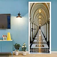 SJYHNB ドアステッカー 宮殿と回廊 自己接着壁画家の装飾壁ステッカーアートステッカー寝室リビングルーム取り外し可能なポスタードアステッカー 90 x 200cm