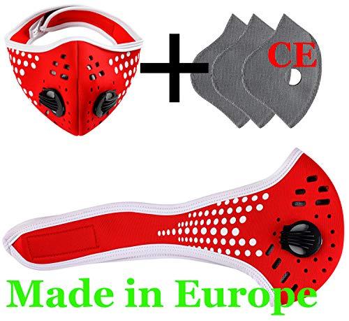 Set Staubmaske Atemmaske 5-lagigem Filter Filtersatz Maske Ersatzfiltern Anti Pollen Allergie Mit Ventil Radsport Outdoor 4sold Dots Red