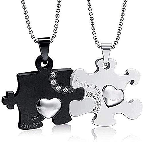 Liuqingzhou Co.,ltd Collar 2 Piezas Rompecabezas Joyas para Parejas Acero Inoxidable Plateado Negro Circón Corazón Colgante Collar Regalo para Amantes Mujeres Hombres Longitud 60 cm