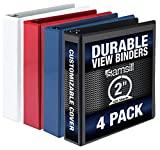 Samsill 3 Ring Binder, Clear View 2 Inch Binder, 4 Pack Heavy Duty Three Ring Binders Assorted Pack for Home, Office, and School Supplies, Designed for 8.5 Inch X 11 Inch Paper, Made in USA