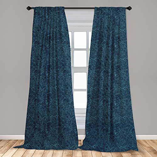 """Ambesonne Navy and Teal Curtains, Abstract Flourish Nature Inspired Pattern Leaves Blossoms, Window Treatments 2 Panel Set for Living Room Bedroom Decor, 56"""" x 63"""", Turquoise Blue"""