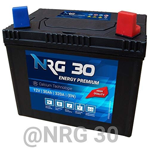 Preisvergleich Produktbild NRG Starterbatterie 30Ah Rasentraktor Aufsitzmäher Rasenmäher Batterie Plus Pol rechts Murray Husqvarna