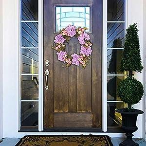 Silk Flower Arrangements Qube Flower Wreath for Door,11.8Inch Pink Mix Wreath with Camellia Hydrangea Rose,Artificial Flower Wreath,Valentine's Day Hanging Door Wreath,Engagement Party Decorations,Spring Wreath (Purple)