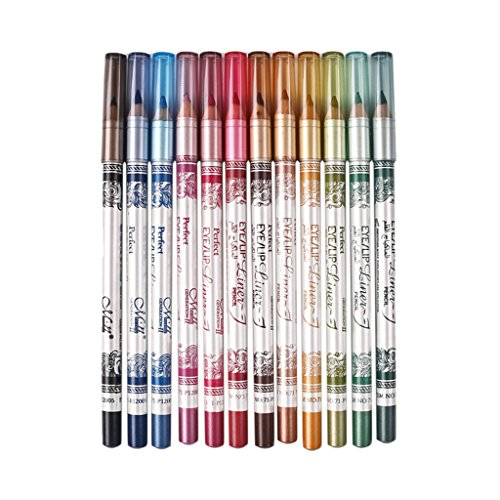 12er Set (12 Farben) Eyeliner Lip Liner Bleistift Augenschatten Lidschatten Highlight Stifte, wasserdichte und langlebig, Kosmetik Make-up Set
