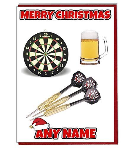 AK Giftshop Weihnachtskarte mit Bier- und Dart-Motiv, personalisierbar