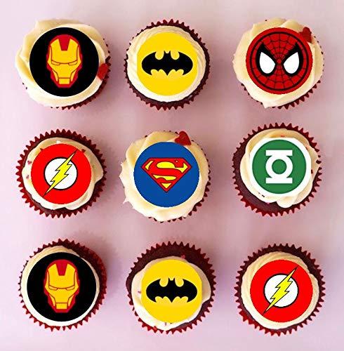 48decorazioni/topper per cupcake, pretagliate, con loghi dei super eroi, fogli di ostia edibili