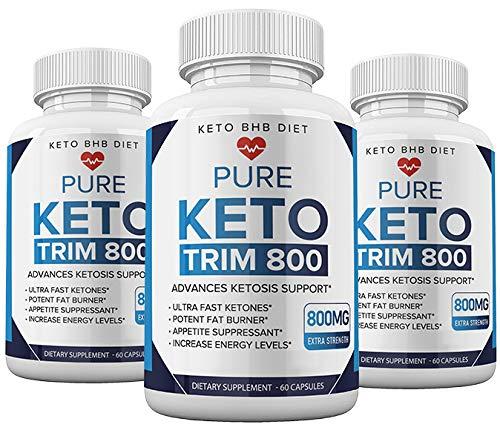 (3pack) Keto Trim 800 Pills - Keto Trim BHB Diet Pill Supplement for Energy, Focus - Exogenous Ketones for Rapid Ketosis - Ketogenic BHB for Men Women (180 Capsules) 1