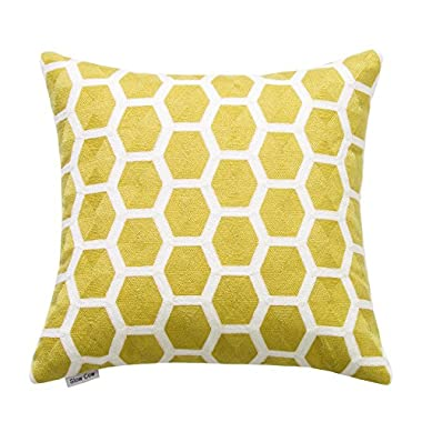 SLOW COW Cotton Embroidery Throw Pillow Cover 18x18 inches, Invisible Zipper Yellow Throw Pillow Case for Living Room.