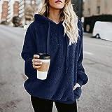 Jersey Suéter Sweater Sudaderas con Capucha para Mujer, Ropa Cálida Y Esponjosa, Jerseys con Cordón para Mujer, Abrigo Informal con Capucha M Azul Marino