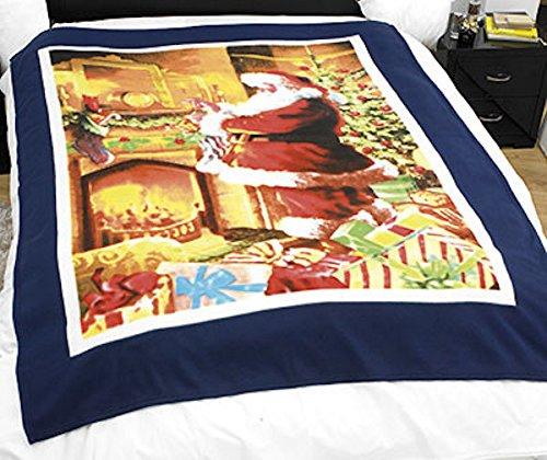 Dreamscene, coperta decorativa natalizia in finto visone, con motivo di Babbo Natale davanti al camino, 150 cmx 200cm