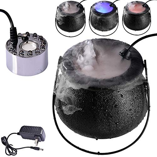 VAHIGCY Halloween Witch Cauldron Fog Maker, Halloween Party Mist Maker Fogger Water Fountain Pond Fog Machine with LED for Halloween Theme Party Or Prom Prop