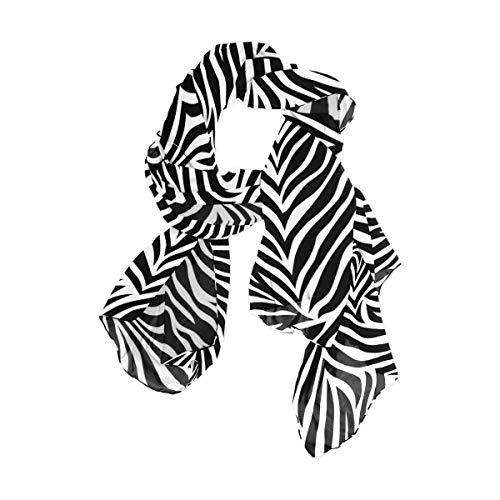Damen Schal Schwarz Weiß Zebra Chic Fashion Print Lange Schal Hals Schal Wrap