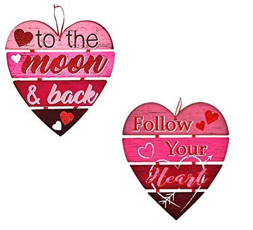 Unbekannt Großes Herz Valentinstag Kranz Plank Stil Glitzerbuchstaben Valentinstag ~ Tür Wand Hängen Kamin Dekoration Party Decor Folgen Sie Ihrem Herz/zum Mond und zurück
