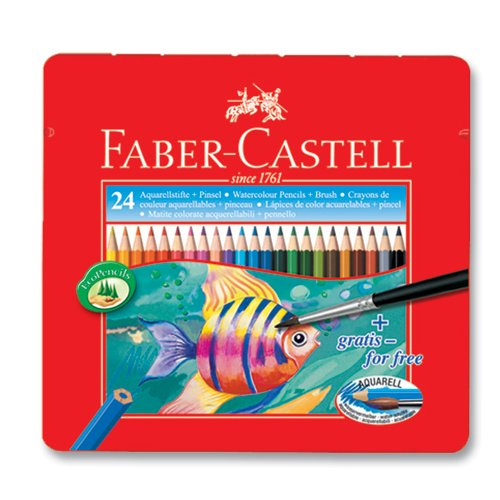 Faber Castell Watercolor Pencil Set of 24 Assorted Color Tin Case