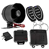 DS18 18CLASS 1-Way Car Alarm Security & Keyless Entry System w/2 Transmitters w/ 4 Button Remote Door Lock Status Indicator LED w/Sensor Bypass Valet Override Switch, Trunk Pop, & 2 Auxiliary Outputs