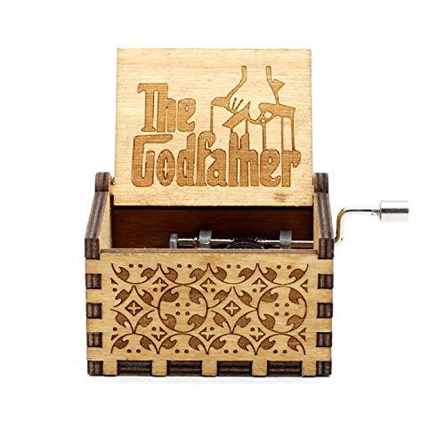 GSHGS Miniatura Caja Musica De Madera La Caja De Música del Padrino Manivela Música Clásica Hecha a Mano Regalo Decoración del Hogar Artesanía 0D