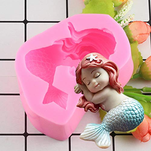 LNOFG Diy Little Mermaid Shape Silicone Mold Fudge Chocolate Fudge Cake Decoration Kitchen Baking Tools Handmade Mold