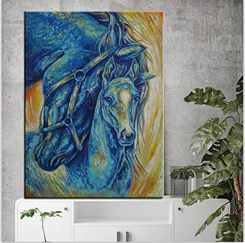 Abstraktes Pferd Tierbild Leinwand Kunst Malerei Wohnzimmer Dekoration nach Hause kreative Kunst rahmenlose Dekoration A103 60x90cm