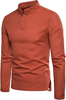 Chunmei Men's Shirt Long Sleeve Tops Stretch Modern Fit V-Neck Button Henley Stand-Up Collar Solid Color Lightweight Breat...