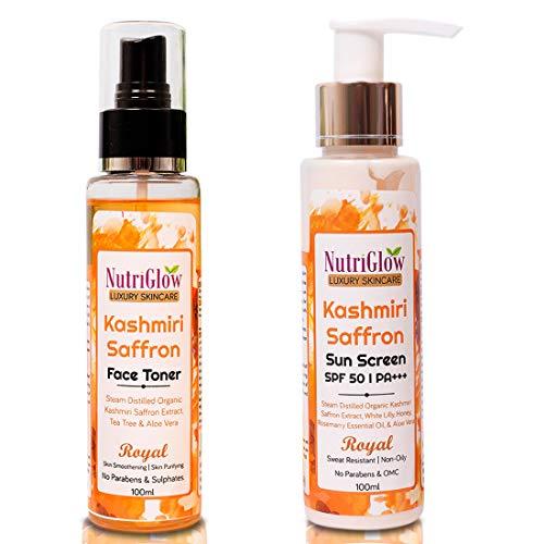 NutriGlow Luxury Skincare Kashmiri Saffron Face Toner with Sun Screen SDF 50   PA+++