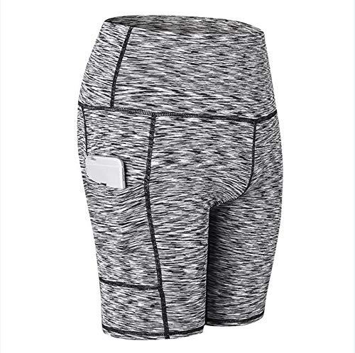 No-Branded WZGGZWGG Frauen Yoga Shorts Taschen Sports Gamaschen Gym Laufhose Feste dünne Trainings Quick Dry Shorts (Color : Schwarz, Size : S)