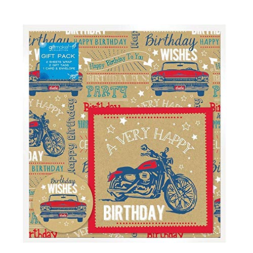Geschenkpapier für alle Anlässe Auto- und Motorrad-Geschenkanhänger und Karten-Set.