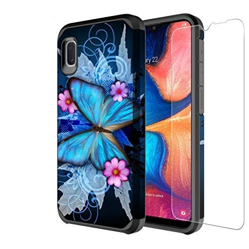 Galaxy A10e Case with Tempered Glass Screen Protector for Girls Women, Galaxy Wireless Dual Layer Heavy Duty Protective Phone Cover Cases for Galaxy A10e - Blue Butterfly