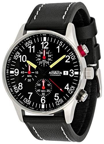 Astroavia Reloj de pulsera para hombre con cronógrafo, cuarzo, correa de piel negra N31L3