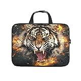 Maletín para portátil con diseño de tigre de bombero, resistente a los arañazos, ideal como regalo, blanco, 12 pulgadas,