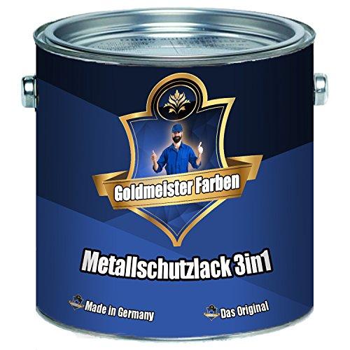 Goldmeister Farben Metallschutzlack 3in1 hochwertige Metallschutzfarbe 3-in-1 Metallschutz-Lackfür Innen Außen von Metall Eisen Zink Aluminium Stahl (1 L, Anthrazitgrau (RAL 7016))