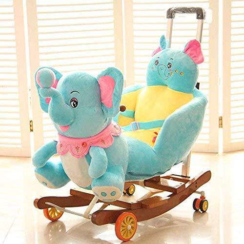 Elefante de Madera para bebé, Mecedora, 2 en 1, para niños, Juguete con cinturón de Seguridad, polea de Mano, balancín para niños pequeños, Interior, Exterior, Felpa, Animal de Peluche, Mecedora,