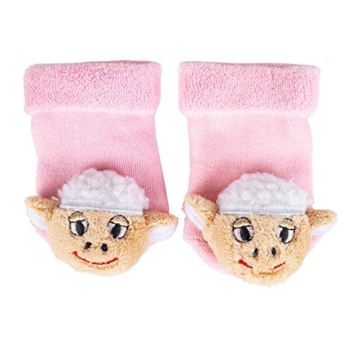 TopSpirit® Baby Rasselsocken Rasselsöckchen Schaf Plüsch - Socken für Babies/Baby bis 12 Monate - Mädchen und Jungen - One Size