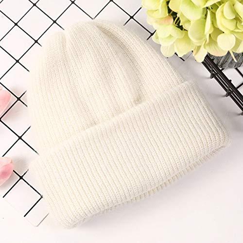 Sombreros de Invierno para Mujer, Gorro de Mujer, Gorro de Invierno para Mujer, Gorro de Punto, Gorro slido de otoo-White