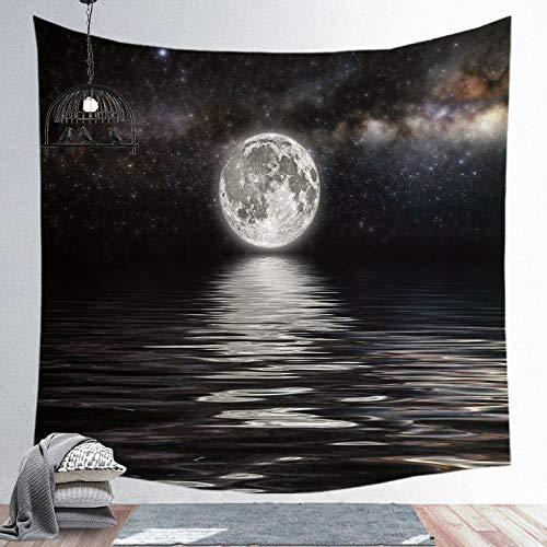 WERT Luna Estrellas Tapiz Mandala Bohemio Colgante de Pared Tapiz Negro Yoga Bufanda Alfombra decoración de Pared Alfombra de Playa A12 150x130cm
