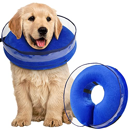 Zeaxuie Soft Inflatable Dog Cone Collar for Dogs After Surgery with Enhanced Anti-Licking for Unrestricted in Daily Life, Pack of One (Medium)