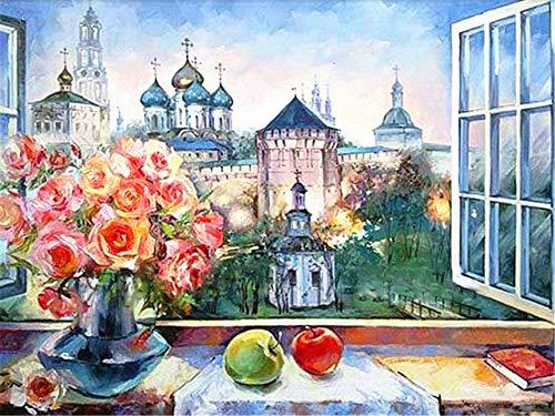 Yrhfys schilderij op nummer DIY olieverfschilderij voor volwassenen kinderen canvas decoratie kerstmis geschenken overzicht landschap van de bloembak buiten het raam 40 x 50 cm (zonder lijst)