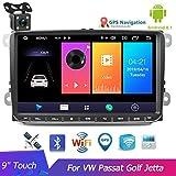 Autoradio 9 pulgadas Reproductor multimedia Audio Estéreo Android Navegación GPS WIFI Enlace espejo FM Radio para V / W Passat Golf MK5 MK6 Jetta T5 EOS POLO Touran Asiento Cámara de visión trasera