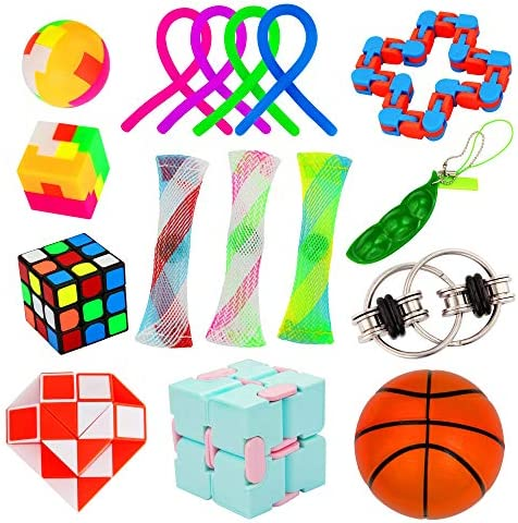 16 Pack Fidget Toy Chain Marble Fidget Keychain Fidget Toys Snake Cube Toys Infinity Cube Toy product image