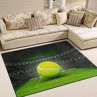 グラスコートスポーツエリアのテニスボールリビングルームの寝室用ラグラグ80x58インチ